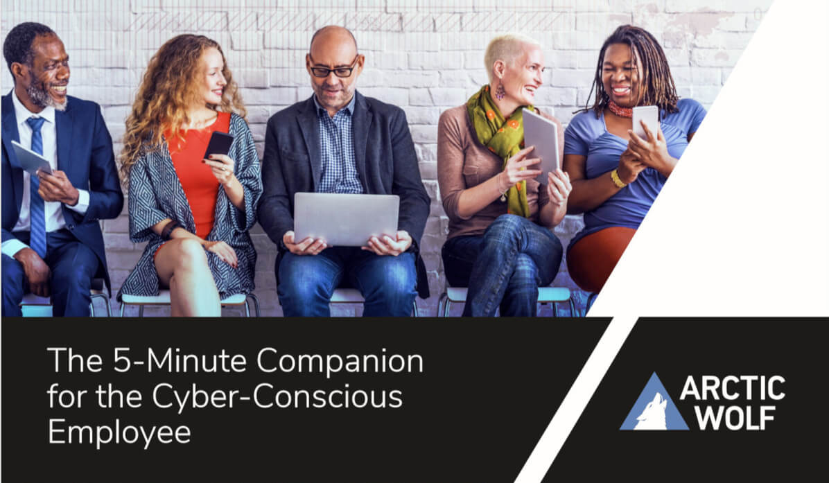 Cover of 'The 5-Minute Companion for the Cyber-Conscious Employee' Ebook, featuring a group of people sitting in chairs against a wall while all on mobile devices